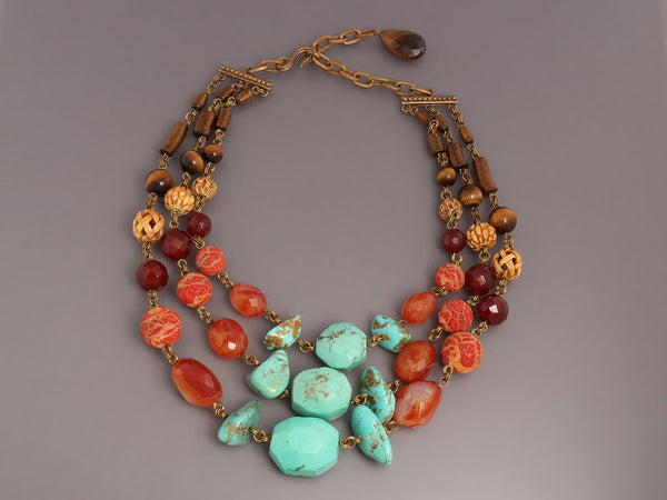 Stephen Dweck 3-Row Beaded Necklace