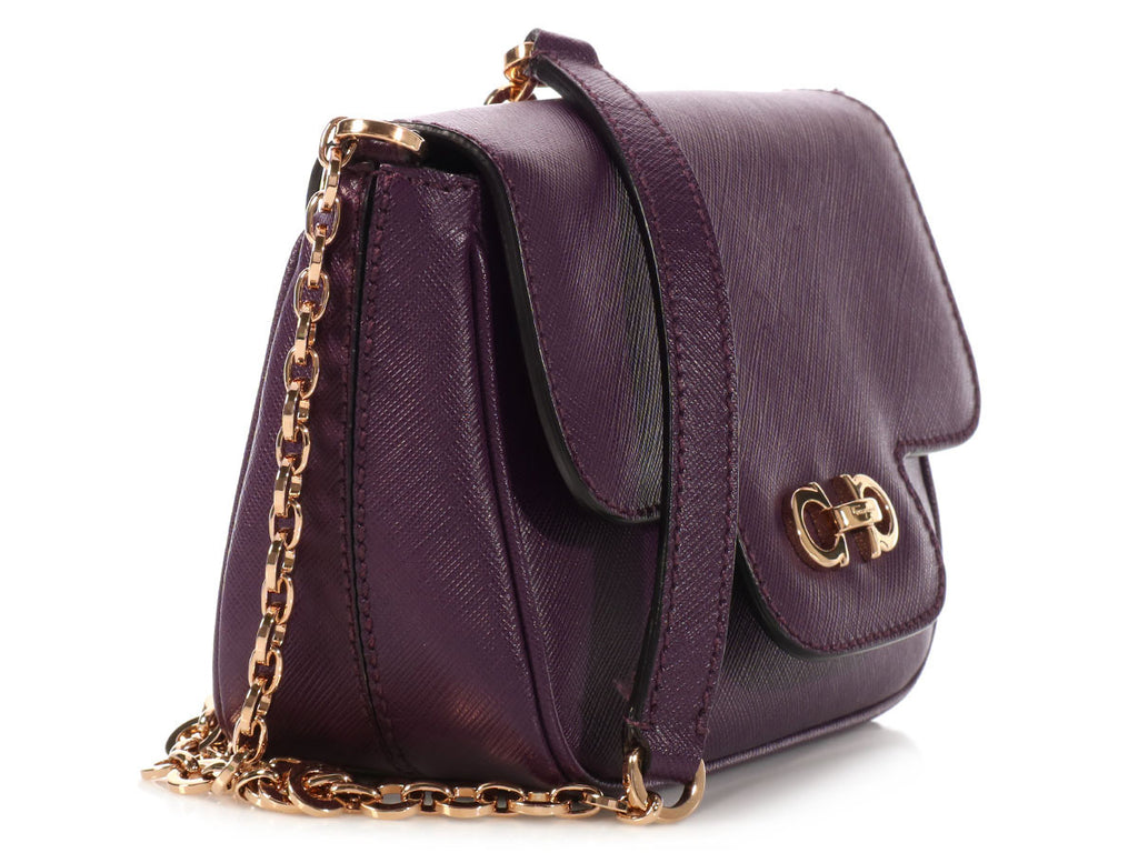 Ferragamo Mini Purple Flap Bag