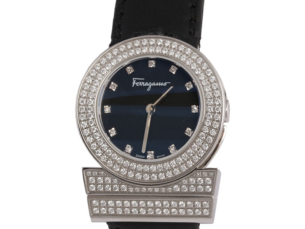 Salvatore Ferragamo Stainless Steel and Diamond Gancini Watch