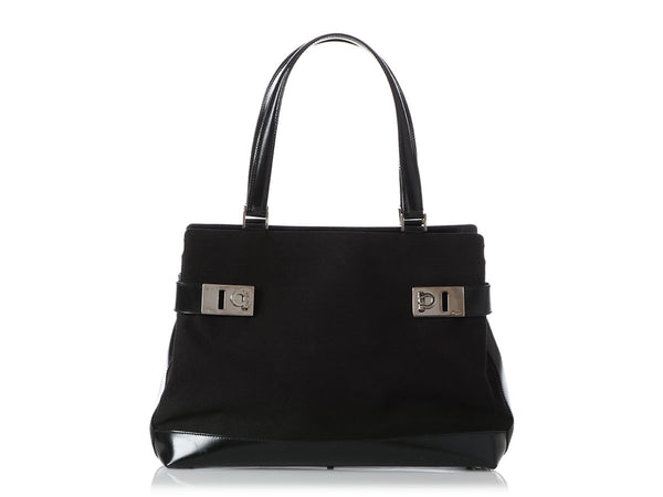 Ferragamo Black Canvas and Leather Top Handle