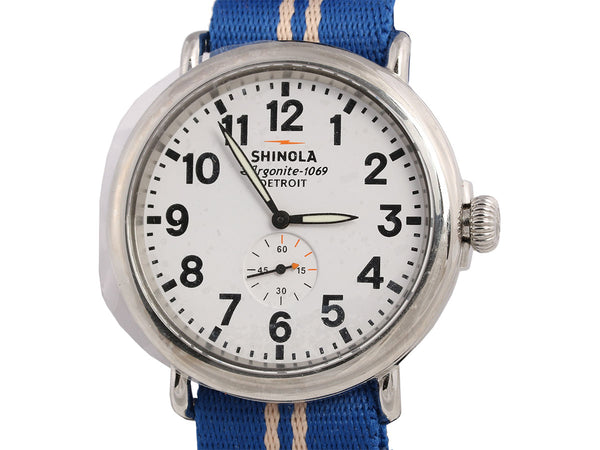 Shinola Mens Stainless Steel and Webbing Runwell Watch 47mm