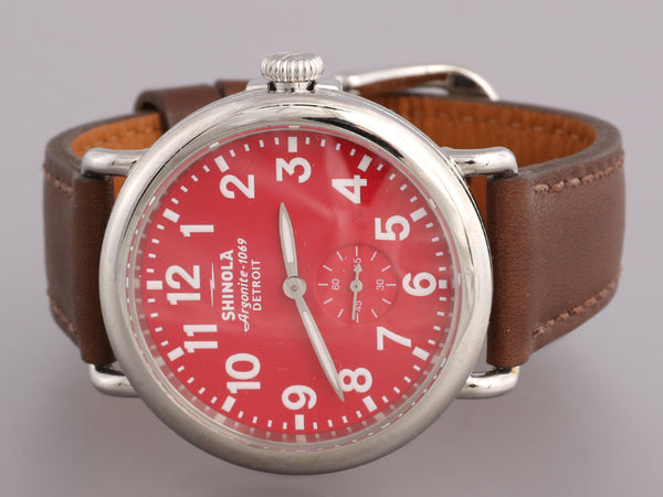 Shinola Stainless Steel and Leather Runwell Watch 41mm