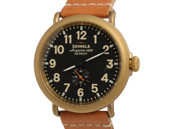 Shinola Brass Plate Mens Runwell Watch 47mm