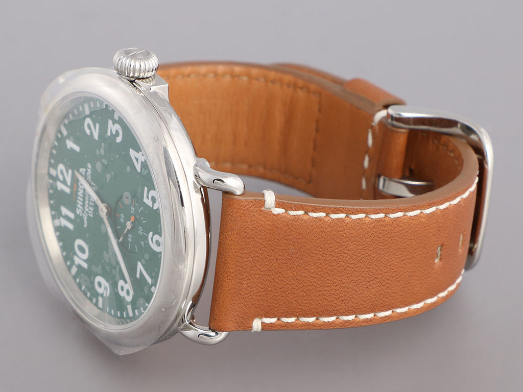 Shinola Stainless Steel and Brown Leather Runwell Watch 47mm