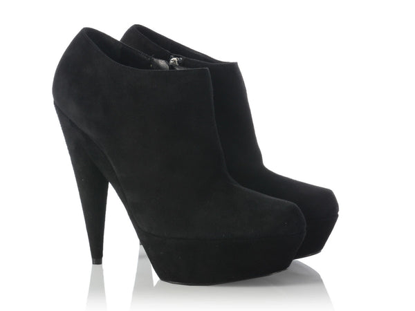 YSL Black Suede Aliama Ankle Boots