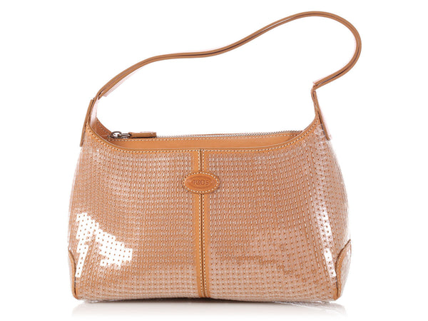 Tod Small Tan Sequined Shoulder Bag