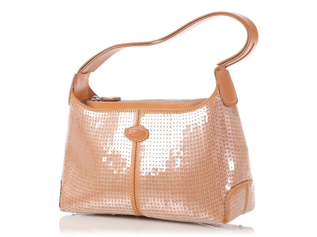 Tod's Small Tan Sequined Shoulder Bag