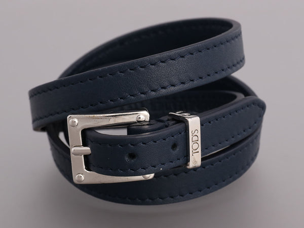 Tod's Large Navy Leather Wrap Bracelet