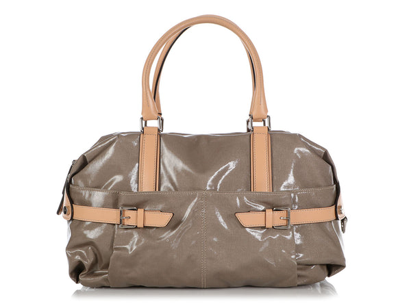 Tod's Gray Coated Canvas G-Line Sacca Satchel