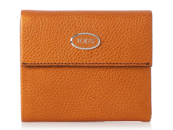 Tod's Metallic Gold Compact Wallet