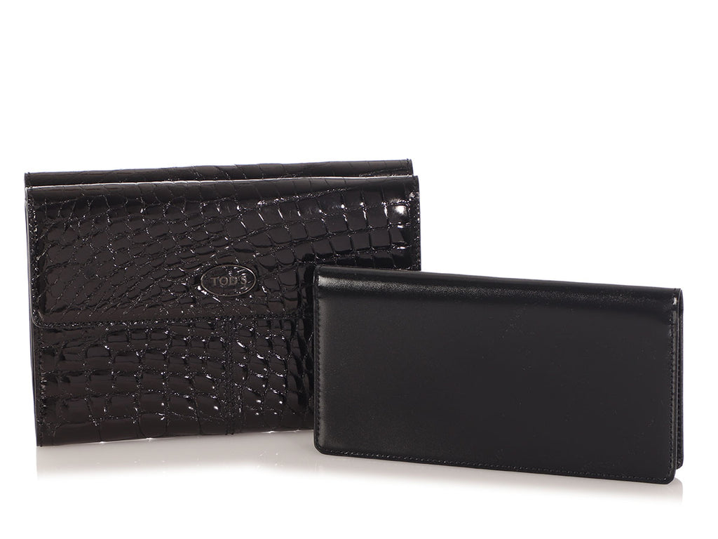 Tod's Black Shiny Crocodile Wallet