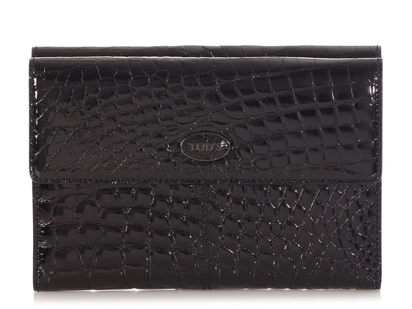 TD.R0120.10 Tod's Black Shiny Crocodile Wallet