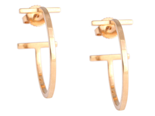 Tiffany & Co. Tiffany T Rose Gold Wire Hoop Earrings