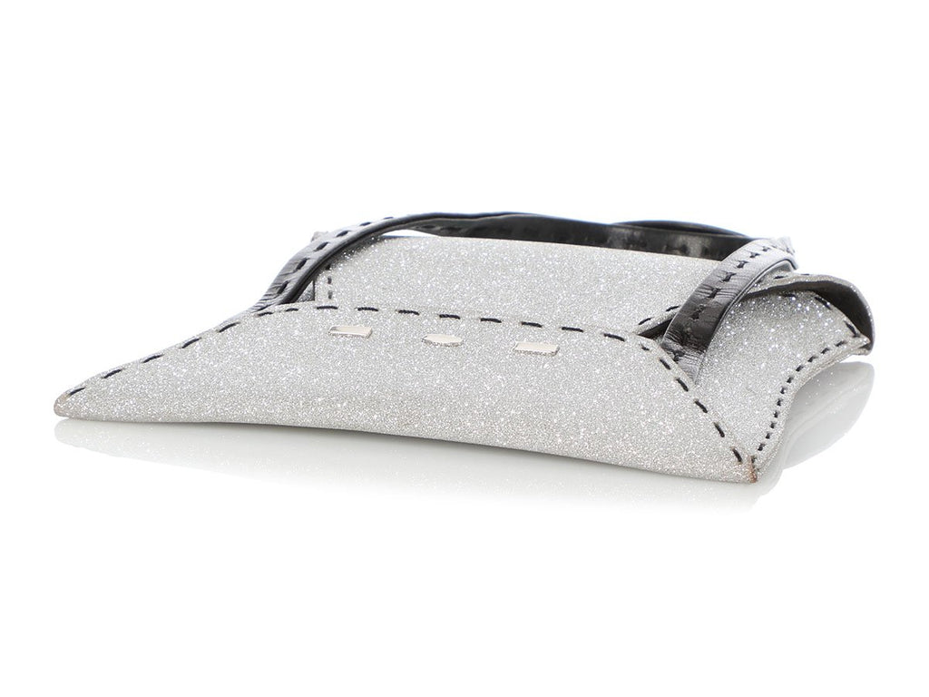 VBH Silver and Black Manilla Glitter Handle Bag
