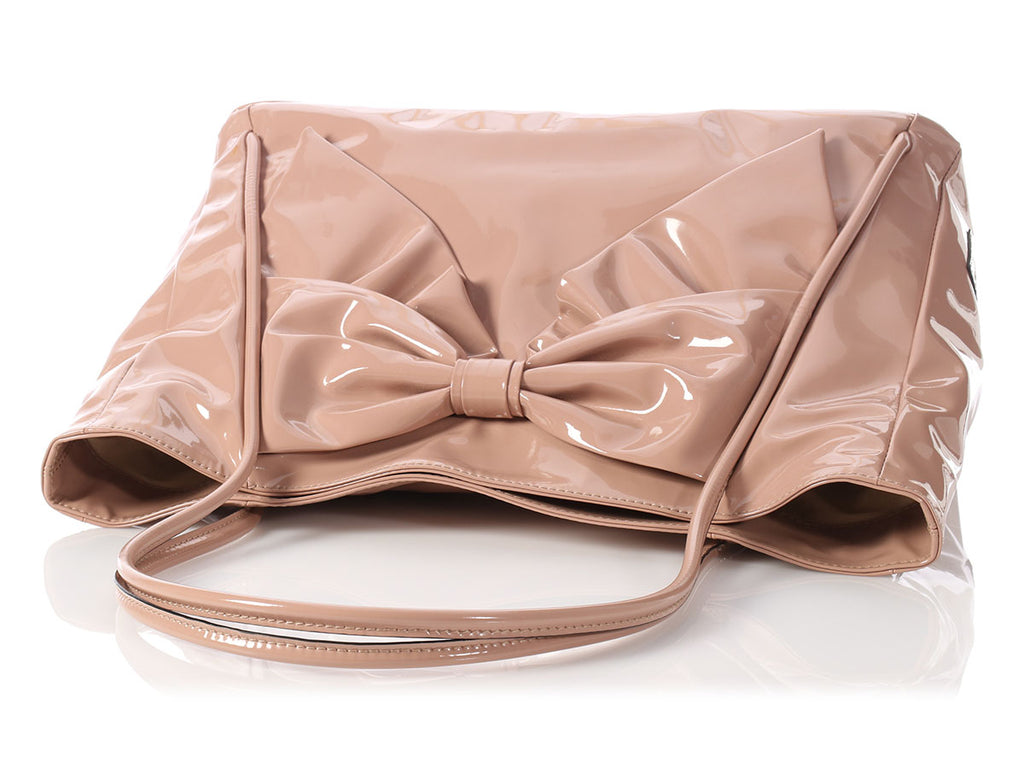 Valentino Nude Patent Double Handle Bow Tote