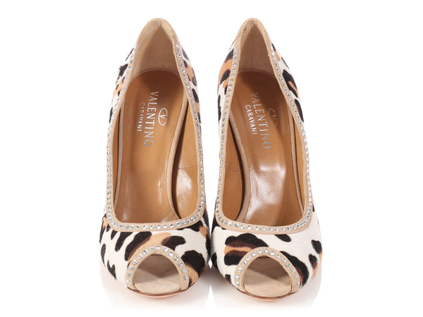Valentino Leopard Print Pony Hair Peep Toe Pumps
