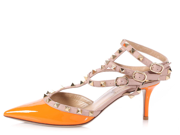Valentino Orange Patent Rockstud Sandals 65