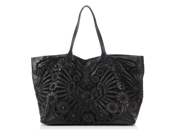 4df21c226a9 Valentino Black Crystal Embellished Tote ...