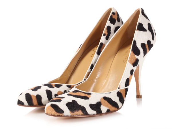 Valentino Leopard Print Calf Hair Pumps