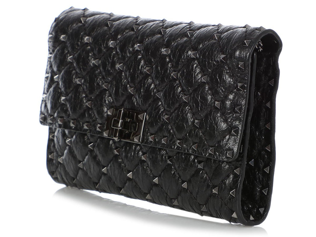 Valentino Black Quilted Rockstud Spike Wallet on a Chain