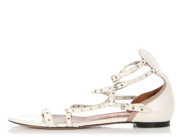 Valentino White Love Latch Grommet Sandals
