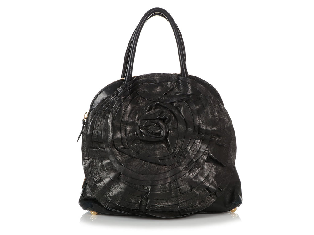 Valentino Black Petal Dome Satchel