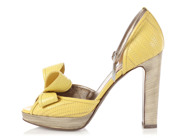 Valentino Yellow Bow Peep-Toe Pumps