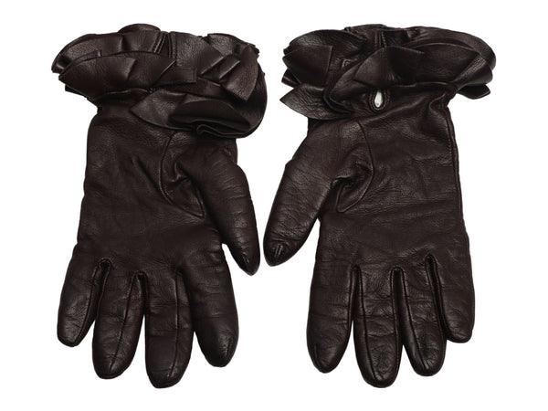 Valentino Brown Leather Ruffle Gloves