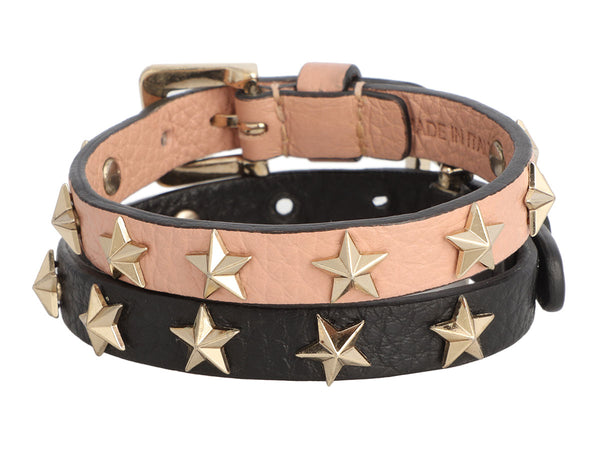 Valentino Leather Star Stud Bracelet Pair