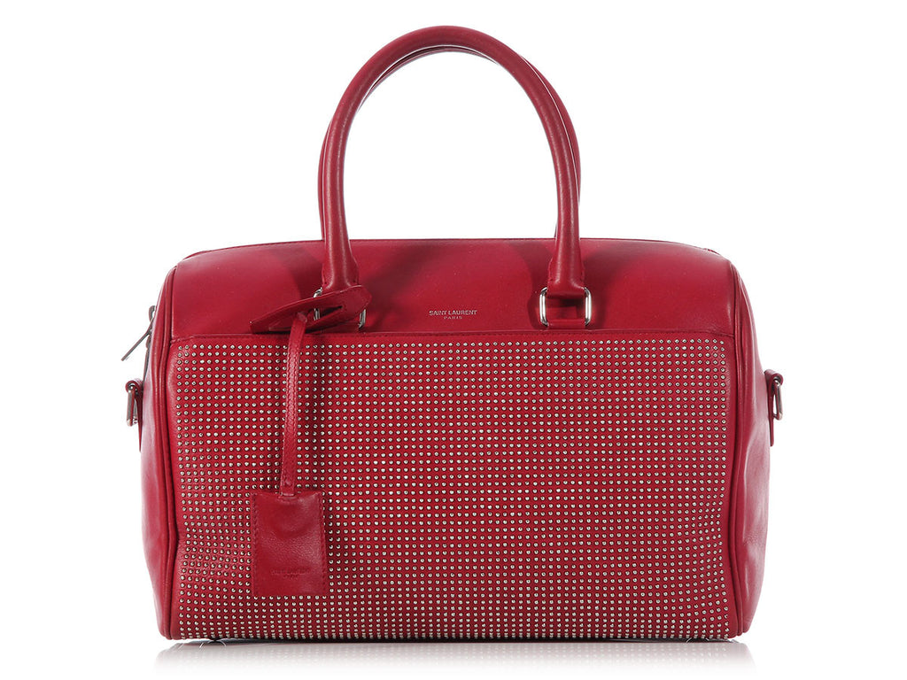 Saint Laurent Red Studded Classic 6 Hour Duffel