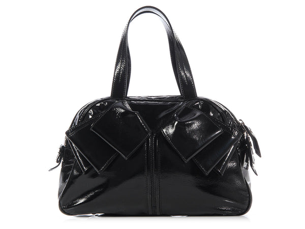 YSL Black Patent Obi Bow Bag