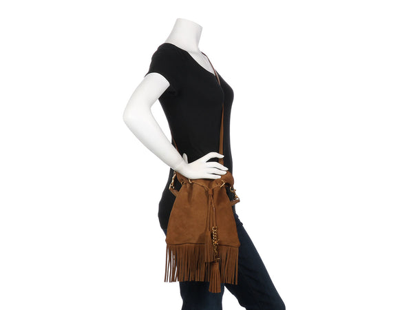 Saint Laurent Brown Suede Fringe Bucket Bag