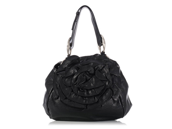 YSL Large Black Nadja Rose Bag