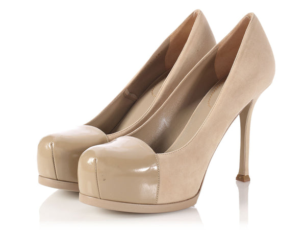 YSL Beige Suede Tribute Two Platform Pumps