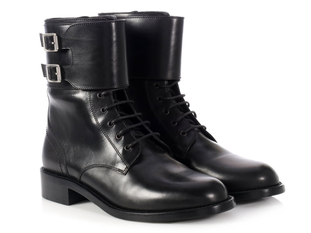 Saint Laurent Black Patti Military Ankle Boots