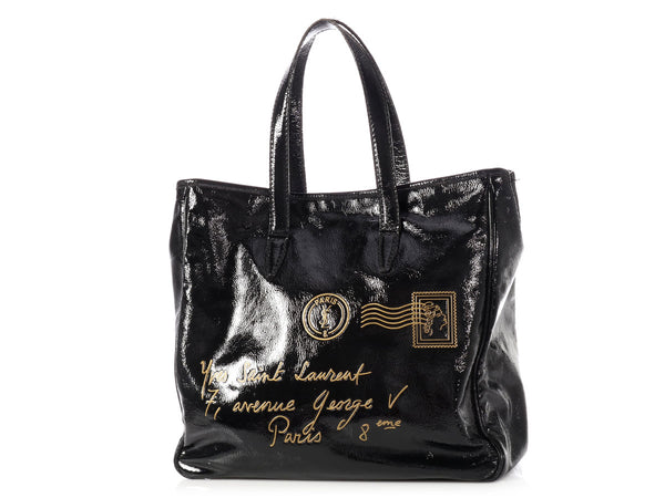 YSL Black Patent Medium YMail Tote