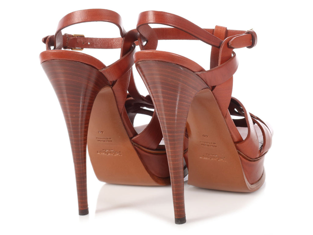 YSL Brown Tribute Sandals