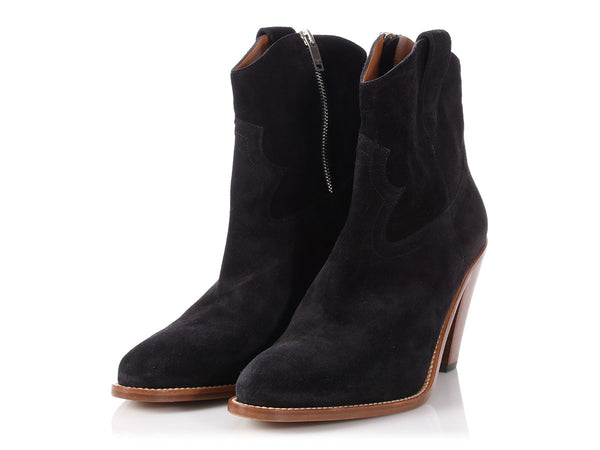 Saint Laurent Black Suede Ankle Boots