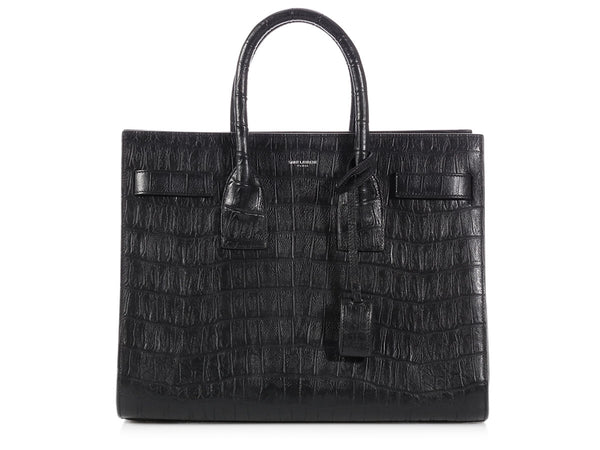 Saint Laurent Black Croc Stamped Sac de Jour
