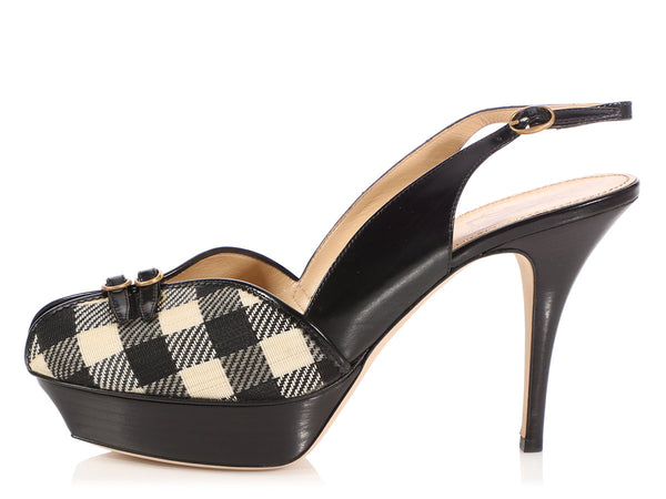 YSL Black and Cream Vichy Slingback Pumps
