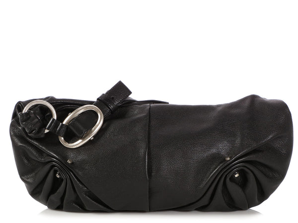 YSL Black Leather Hobo