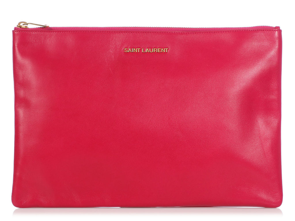 Saint Laurent Large Fuchsia Zip Pouch
