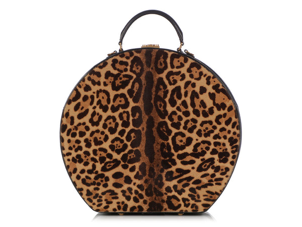 Saint Laurent Large Leopard Print Calf Hair Mica Hat Box Bag