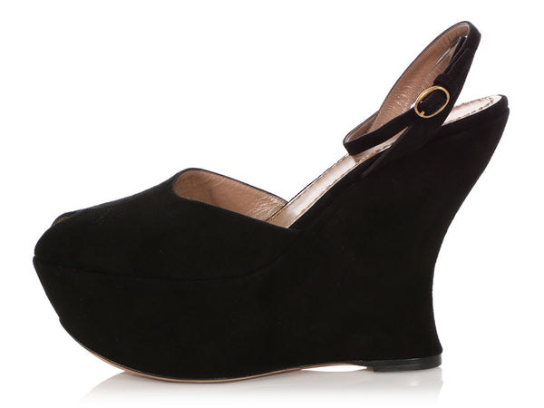 YSL Black Suede Peep-Toe Platform Wedges