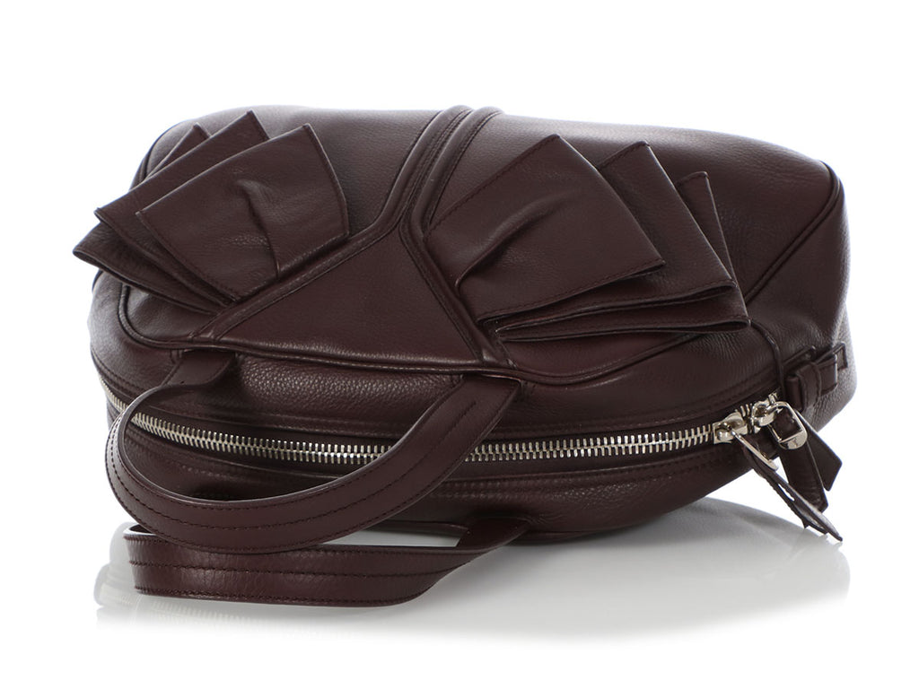 YSL Medium Burgundy Obi Bow Bowler