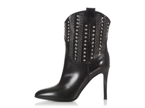 Saint Laurent Black Studded Debbie Short Boots