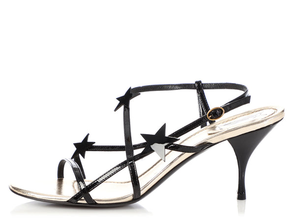 YSL Black Patent Stardust Sandals