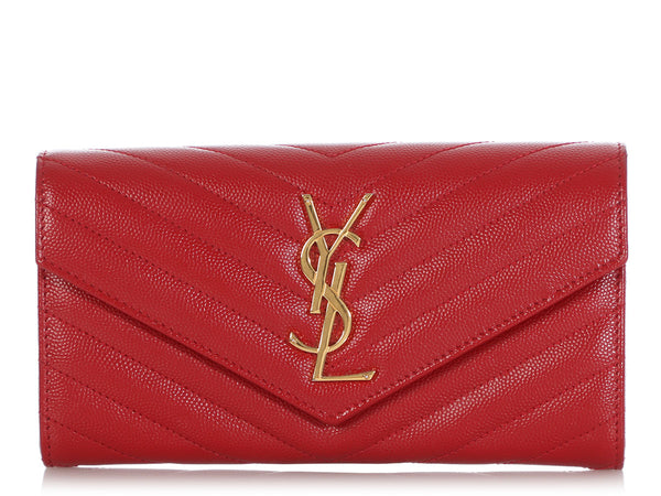 Saint Laurent Long Red Matelassé Wallet