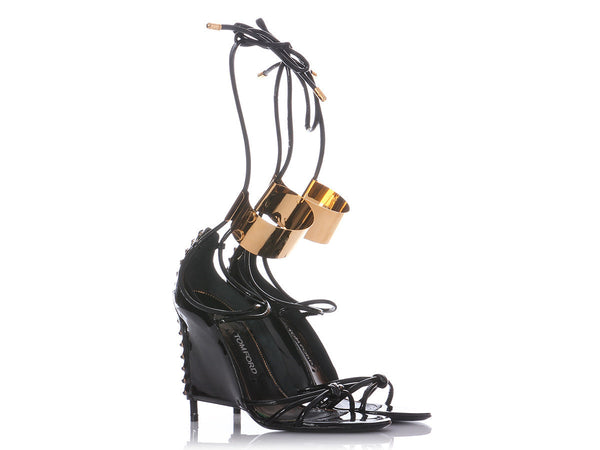 Tom Ford Black Patent Corset Sandals
