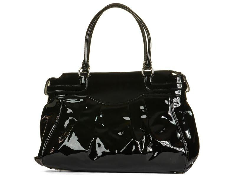 Ferragamo Black Patent Gathered Bag
